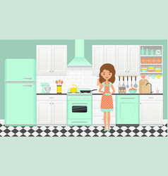 retro kitchen with cooking girl in flat design vector image