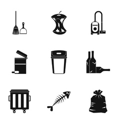 Rubbish icons set simple style vector