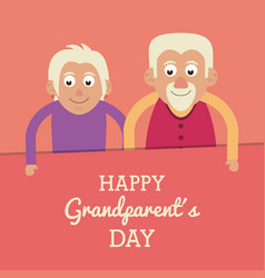 salmon color card with text happy grandparents day vector image