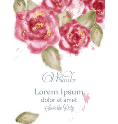 save the date card with watercolor pink roses vector image