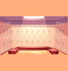 School gym locker room interior cartoon vector