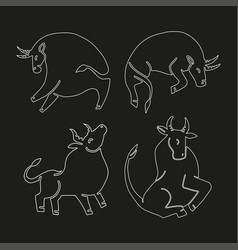 set bulls linaer stylized vector image
