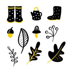 Set doodle floral elements autumn vector