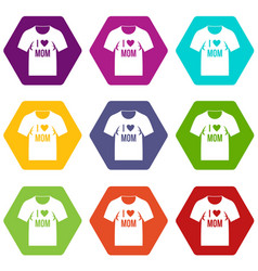 shirt with print icon set color hexahedron vector image