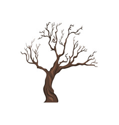 Single cartoon brown bare tree vector