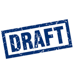 Square grunge blue draft stamp vector
