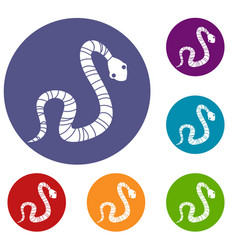 striped snake icons set vector image