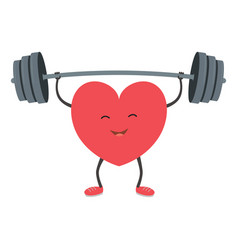 Strong heart with a barbell vector