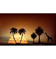Sunrise over the african savanna giraffe and trees vector