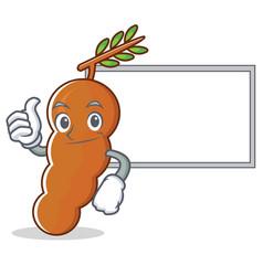 Thumb up with board tamarind character cartoon vector