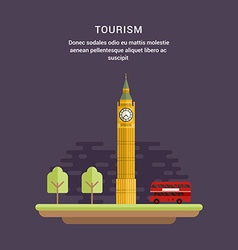 Tourism Concept Flat Style Big Ben Elizabeth vector
