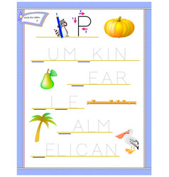 Tracing letter p for study english alphabet vector