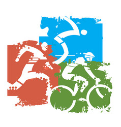 Triathlon grunge background vector