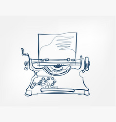 Typewriter art line isolated doodle vector