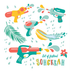 Water gun set songkran festival in thailand vector