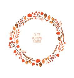 Watercolor autumn frame vector
