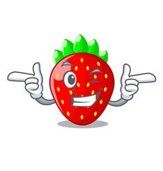 Wink strawberries fruit in wooden bowl cartoon vector