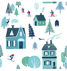 winter seamless pattern of skiing holiday vector image