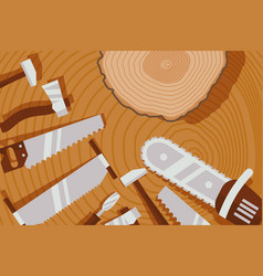 wood processing tool instrument for lumberjack vector image