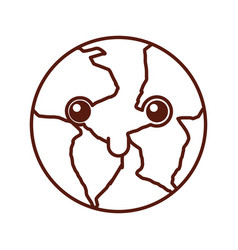 World planet earth kawaii character vector