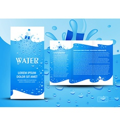 brochure folder water aqua splash bootle element vector image vector image