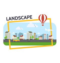 flat city landscape composition vector image vector image