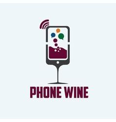 phone wine concept vector image