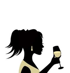 silhouette of a woman with a glass vector image