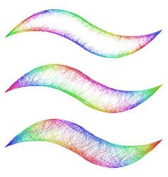 Sketch wave line graphic design element set vector image vector image