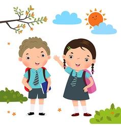 Two kids in school uniform going to school vector image