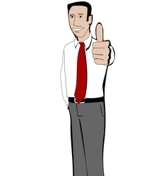 Young businessman shows thumb up vector image