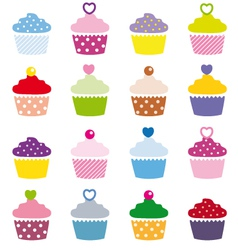 a selection of delicious cupcakes vector image vector image
