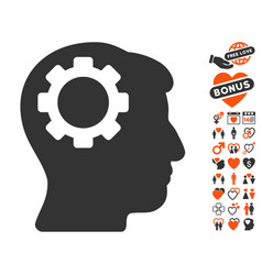 brain gear icon with dating bonus vector image