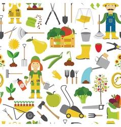 Gardening work farming seamless pattern Flat style vector image vector image