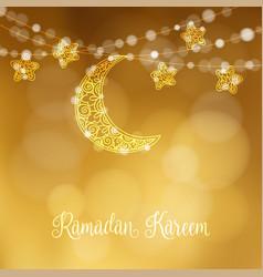hand drawn ornamental moon and stars festive vector image