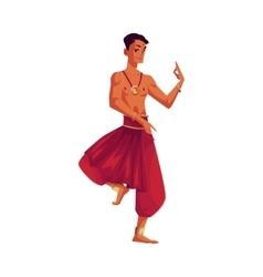 Indian male dancer in traditional harem pants vector image