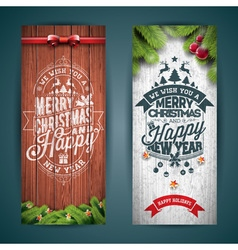 Merry Christmas banner with typography design vector image vector image