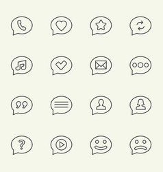 speech bubble line icons vector image