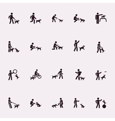 Stick figures Man with dog vector image