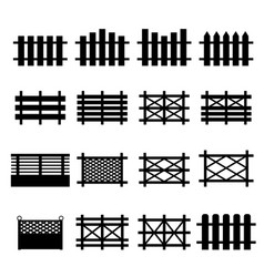 wooden fences icon set isolated on white vector image