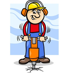 Worker with pneumatic hammer cartoon vector