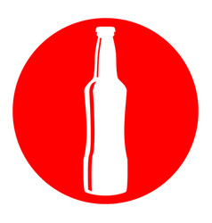 beer bottle sign white icon in red circle vector image