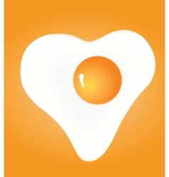 Heart shaped fried egg on yellow background vector image