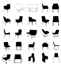 Modern furniture silhouette vector