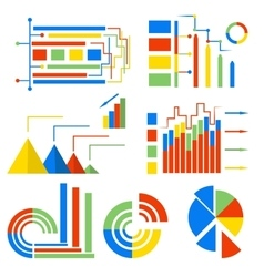 Set isolated icons charts vector image