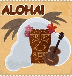 Vintage postcard with Hawaiian elements eps10 vector image