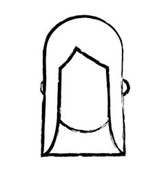 faceless head girl female people sketch vector image