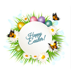 holiday gift card with easter eggs and daisies vector image vector image