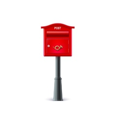 Red mailbox on the post vector image