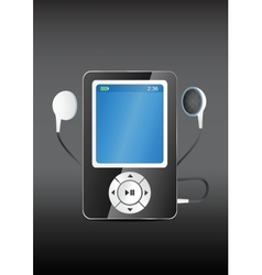 stylish modern MP3 player with earphones vector image vector image